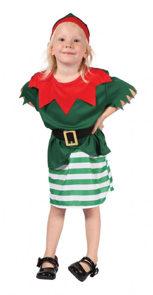 Childs Santa Helper Girl Costume Father Christmas Fancy Dress Outfit
